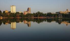 HoanKiem湖,河内,越南的老部分的小的湖 图库摄影