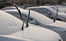 Hoar frost on cars Stock Photos