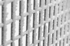 Hoar Frost on Fence. Hoar frost on a wire fence in winter Stock Photography