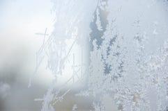 Hoar-frost på fönstret. Arkivbilder