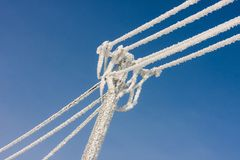 Hoar frost on the telephonic line Royalty Free Stock Images