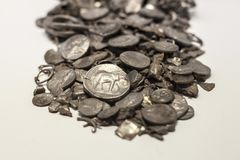 Hoard of Cerro Colorado, oldest coins ever made in iberia, Malaga. Malaga, Spain - Sept 21th, 2018: Hoard of Cerro Colorado, oldest coins ever made in iberia royalty free stock photography