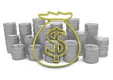 Hoard dourado do ícone do dinheiro com as moedas no fundo Imagem de Stock