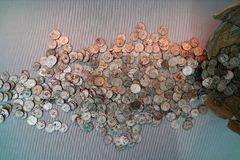 Hoard of silver Roman coins. A hoard of old silver Roman coins found in south England royalty free stock images