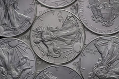 Hoard of United States (US) Silver Eagle Coins. Hoard of United States (US) Silver Eagle Coin stock photo