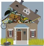 Hoarder House. A house, bursting from piles of things, accumulated inside, vector illustration Royalty Free Stock Photography