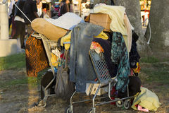 Hoarder's Shopping Cart Royalty Free Stock Photo