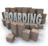Hoarding Boxes Piled Up Word Collection Mess Trash Stock Images