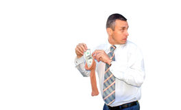 Hoarding money. Saving adult manager assemble money in capronic female stocking Stock Photo