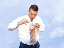 Hoarding money. Saving adult manager assemble money in capronic female stocking Stock Image