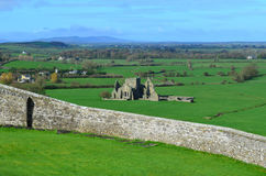 Hoare Abbey Stone Ruins in Ireland. Old stone ruins of Hore Abbey as seen from the Rock of Cashel Royalty Free Stock Images