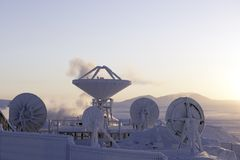 Antenna against winter landscape in Chukotka Stock Photography