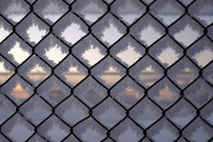Hoarfrost on fence Royalty Free Stock Images