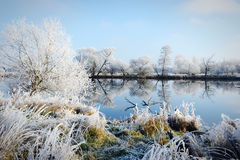 Hoarfrost landscape on Havel River Havelland, Germany Royalty Free Stock Photography