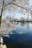 Hoarfrost landscape on Havel River Havelland, Germany Stock Image