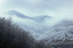 Hoarfrost mountain Under clouds Royalty Free Stock Photos