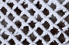 Hoarfrost On A Fence Grid Stock Image