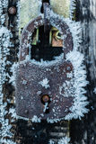 Hoarfrost padlock Royalty Free Stock Photography