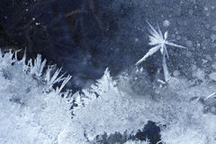 Hoarfrost star on ice background Stock Photography