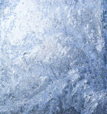 Hoarfrost texture. White wintry hoarfrost background on a window Stock Photo