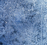 Hoarfrost texture. The patterns made by the frost on the window (hoarfrost background royalty free stock photo