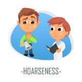 Hoarseness medical concept. Vector illustration. royalty free illustration