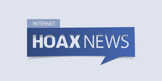 Hoax news banner isolated on light blue background. Banner design template. Stock Photo