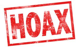 Hoax in red ink stamp vector illustration