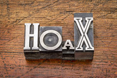 Hoax word in  metal type Stock Image