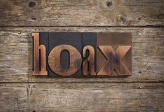 Hoax written with letterpress type Stock Photo