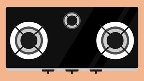 Hob gas stoves flat vector. N Stock Photography