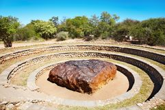 Hoba meteorite. The largest meteorite ever found and the most massive naturally-occurring piece of iron known in the world, Namibia royalty free stock image