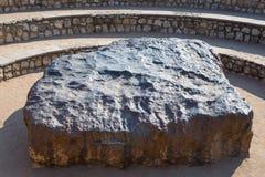 Hoba meteorytu widoku punkt, Namibia, Afryka Meteoryt komponuje wysokością gęstość ciężcy metale, przeważny żelazo i nikiel z tr  Obrazy Stock