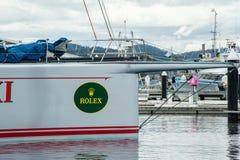 Hobart Australia, Grudzień, - 28 2012: Dzikich owsów XI. 11 łamania dokumentacyjna wygrana w Sydney Hobart jachtu rasa - najnowoc obraz royalty free