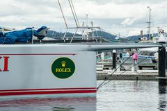 Hobart, Australien - 28. Dezember 2012: Rekordverdächtiger Gewinn 11 der wilden Hafer XI im Sydney zu Hobart Yacht Race - hochmod lizenzfreies stockbild