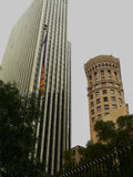 Hobart Building. One of the first high-rises in San Francisco on the right, in contrast with a newer one on the left. Located in Downtown Financial District Royalty Free Stock Photos