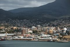 Hobart center view. View of Hobart from across the river Stock Images