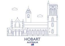 Hobart City Skyline, Australia ilustración del vector