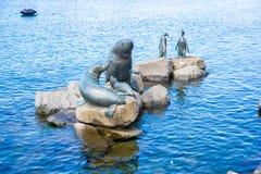 Hobart cityview. Seal and penguin statues in harbor at Hobart, Tasmania Stock Photo