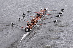 Hobart College Women's Crew races in the Head of Charles Regatta Women's Master EightsRadcliffe Stock Photo