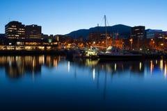 Hobart Dock no crepúsculo Fotografia de Stock