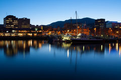 Hobart dok przy półmrokiem Fotografia Stock
