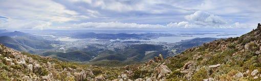 Hobart från Wellington Panorama Fotografering för Bildbyråer