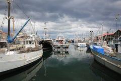 Hobart Harbour con los barcos Fotografía de archivo