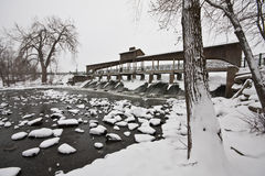 Hobart Indiana Dam in snowfall Stock Photography