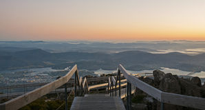 Hobart from Mount Wellington Dawn Viewpoint. Dawn View of Hobart from the viewing platform at the summit of Mount Wellington.  Tasmania, Australia Royalty Free Stock Image