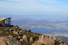 Hobart from Mount Wellington, Tasmania. The amazing view of Hobart from Mount Wellington, Tasmania, Australia. Observation platform on the left royalty free stock image