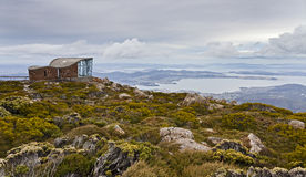 Hobart Mt Wellington Hut Lookout. Australia tasmania hobart mt Wellington information centre lookout from the mountain top panoramic view on city and around land Royalty Free Stock Photo