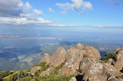 Hobart from Mt Wellington lookout. A view over Hobart, Tasmania from Mt Wellington Stock Images