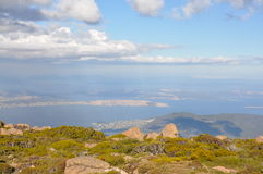Hobart from Mt Wellington lookout. A view over Hobart, Tasmania from Mt Wellington royalty free stock photos
